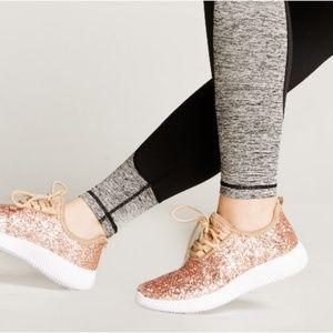 NEW ROSE GOLD GLITTER METALLIC SNEAKER